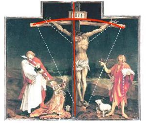 Изенгеймский алтарь, композиция центральной картины первой развёртки