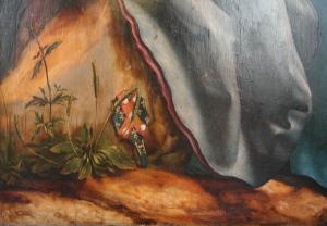 Изенгеймский алтарь, посещение св. Антонием Павла Отшельника, фрагмент