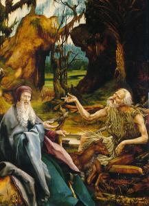 Изенгеймский алтарь, посещение св. Антонием Павла Отшельника, картина третьей развёртки