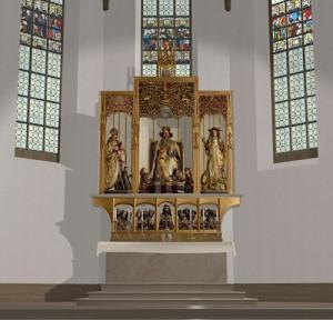 Короб с резными фигурами в церкви в Изенгейме, конец XV в., реконструкция
