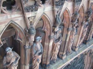 Кафедральный собор Страсбурга, портал центрального фасада, галерея апостолов