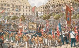 Памятник Гутенбергу в Страсбурге, торжественное открытие 25 июня 1840 года