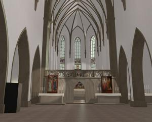 Вид церкви в Изенгейме после завершения Изенгеймского алтаря, реконструкция
