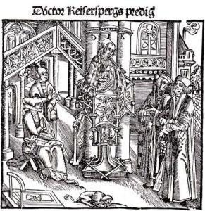 Проповедник Иоганн Гейлер фон Кайзерберг, старинная гравюра
