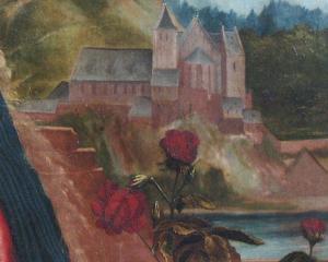 Изенгеймский алтарь, храм на заднем плане