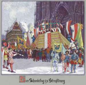 Церемония принятия присяги на Соборной площади в Страсбурге
