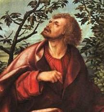 Ганс Бургкмайр , «Иоанн Богослов на Патмосе», деталь, Старая пинакотека, Мюнхен
