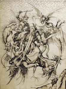Искушение святого Антония, гравюра Шонгауэра