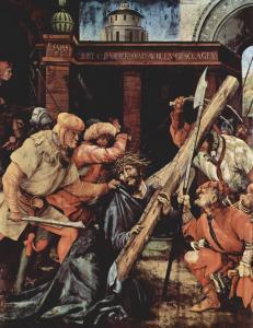 Матиас Грюневальд, Таубербишофсхаймский алтарь, Несение креста (Художественная галерея Карлсруэ)