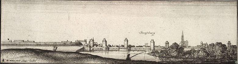 Крытые мосты в Страсбурге, гравюра XVII века