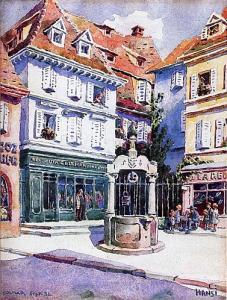 Средневековый колодец, площадь Доминиканцев, Кольмар, Франция