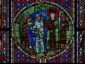 Кафедральный собор Страсбурга, витраж с изображением ангела и с цены суда Соломона