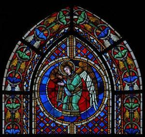 Кафедральный собор Страсбурга, витраж с изображением ангела и сцены суда Соломона
