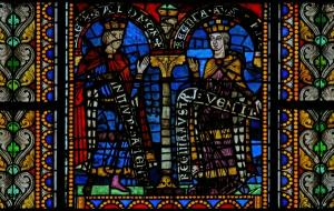Кафедральный собор Страсбурга, витраж с изображением Соломона и царицы Савской
