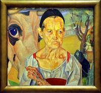 Борис Григорьев, «Старуха-молочница с коровой» (1917)