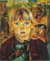 Борис Григорьев, «Девочка с  бидоном» (1917)