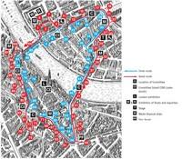 Карта маршрута процессий на карнавале, Базель, Швейцария