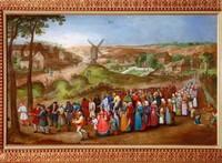 Свадебная процессия на фоне сельского пейзажа, круг Питера  Брейгеля Младшего
