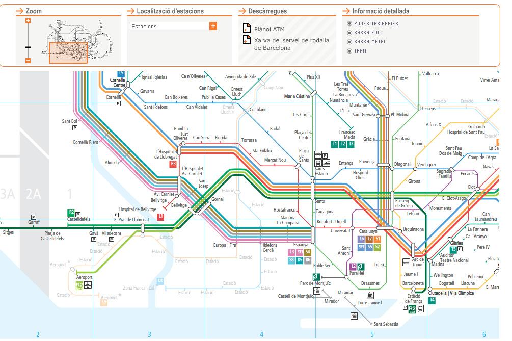 карта пригородных поездов барселоны.