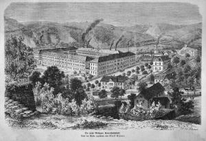 Производственные корпуса Мейсенской фарфоровой мануфактуры в районе Трибишталь, 1869 год