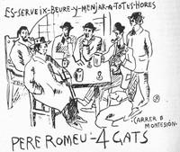 Художники-завсегдатаи кафе Els Quatre Gats, Барселона, Испания