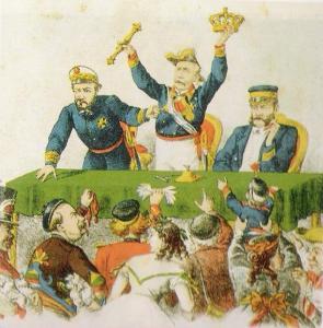 Карикатура: Прим, Серрано и Топете продают с торгов испанскую корону [2]