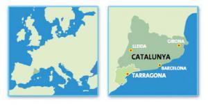 Местоположение Каталонии на карте Европы
