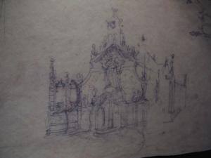 Проект фасада часовни Мизерикордия в Реусе, эскиз Гауди