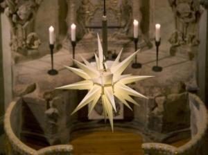 Гернгутская звезда в интерьере Фрауэнкирхе в Дрездене, Германия